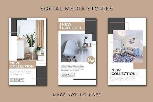 Modelo de coleção minimalista de móveis de história instagram