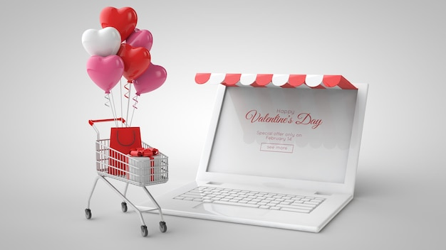 Modelo de compra e venda on-line do mercado de dia dos namorados. ilustração 3d. laptop, presentes, sacola de compras, carrinho de compras e balões.