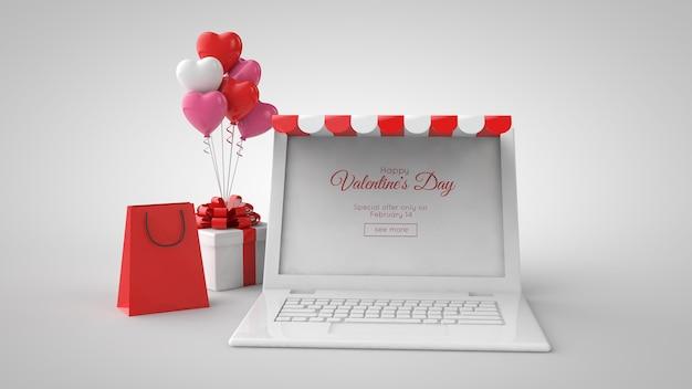 Modelo de compra e venda online do dia dos namorados. ilustração 3d. laptop, presentes, sacola de compras e balões.