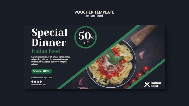 Modelo de comprovante de conceito de comida italiana