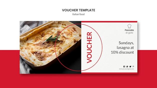 Modelo de comprovante de cozinha italiana