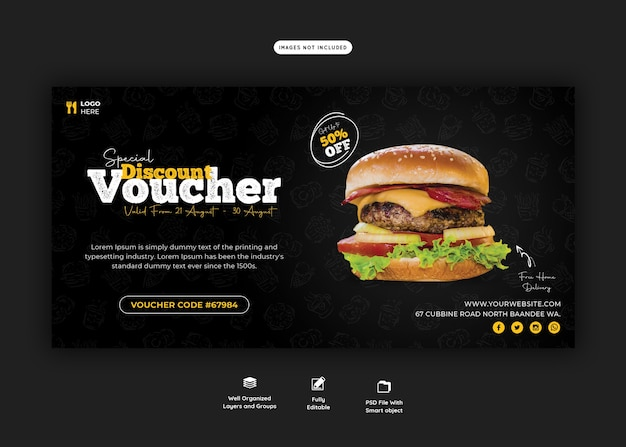 Modelo de comprovante de presente de menu de comida e hambúrguer delicioso