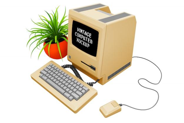 Modelo de computador vintage isolado