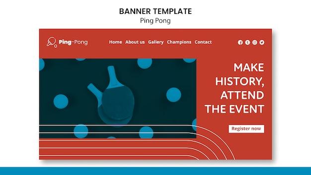 Modelo de conceito de banner de pingue-pongue