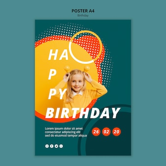 Modelo de conceito de cartaz feliz aniversário