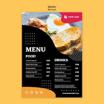 Modelo de conceito de menu brunch