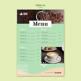 Modelo de conceito de menu de café