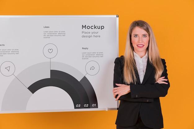 Modelo de conceito de mulher de negócios feliz mulher