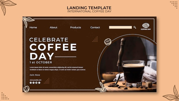 Modelo de conceito de página de destino do dia internacional do café
