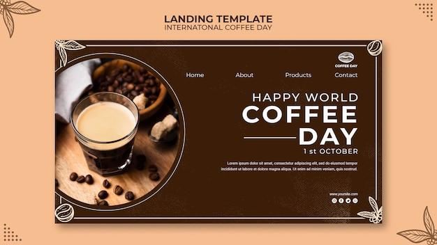 Modelo de conceito de página de destino internacional para o dia do café