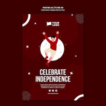 Modelo de conceito de pôster do dia da independência da indonésia