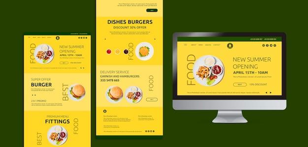 Modelo de conceito de web de comida americana