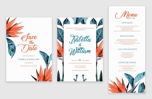 Modelo de conjunto de cartões de convite de casamento tropical