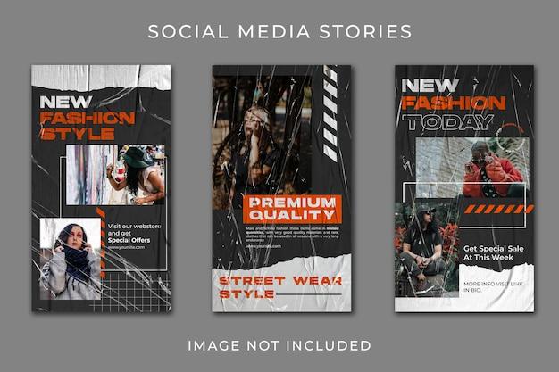 Modelo de conjunto de coleção de moda urbana para história de mídia social
