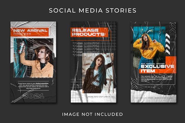 Modelo de conjunto de coleção de streetwear de história de mídia social