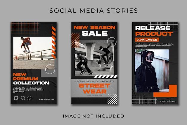 Modelo de conjunto de coleção instagram story stretwear