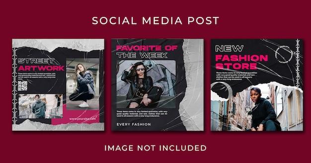 Modelo de conjunto de instagram post streetwear
