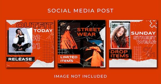 Modelo de conjunto de moda de rua laranja post instagram