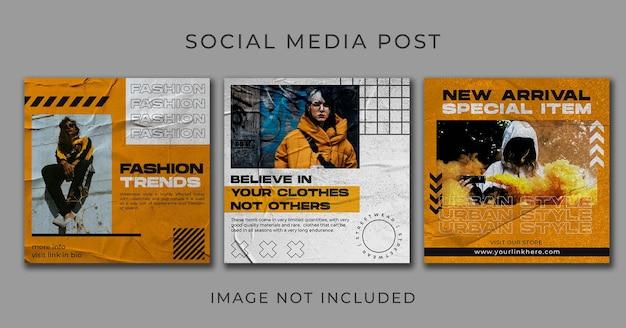 Modelo de conjunto de moda post streetwear nas redes sociais