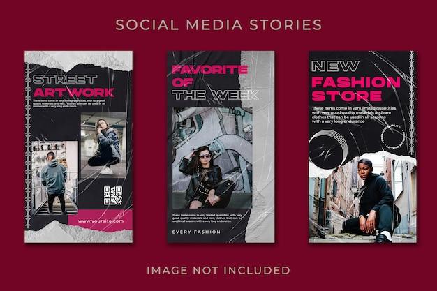Modelo de conjunto de moda urbana instagram story