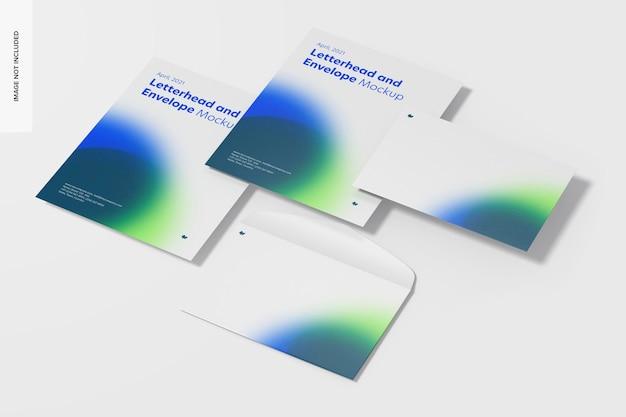 Modelo de conjunto de papel timbrado e envelope