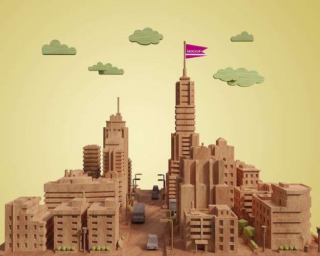 Modelo de construção 3d de cidade mock-up