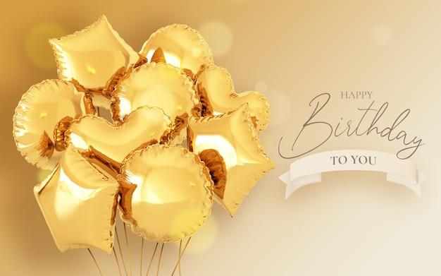 Modelo de convite de aniversário com balões realistas