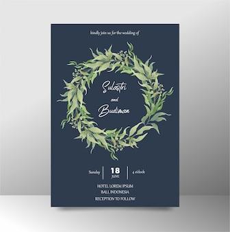 Modelo de convite de casamento com aquarela azul marinho folhas