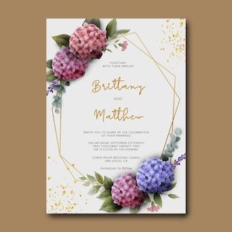 Modelo de convite de casamento com buquê de flores de hortênsia em aquarela