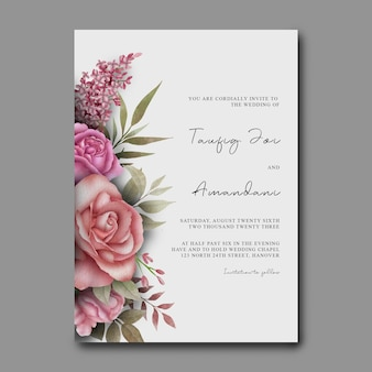 Modelo de convite de casamento com decoração de buquê de flores em aquarela
