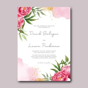 Modelo de convite de casamento com decoração de flores de peônia em aquarela