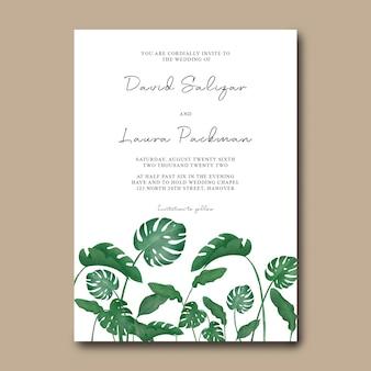 Modelo de convite de casamento com decoração de folhas tropicais em aquarela