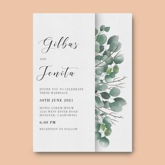 Modelo de convite de casamento com decoração em folha de eucalipto em aquarela