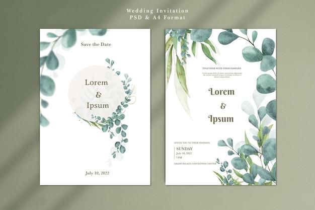 Modelo de convite de casamento com eucalipto