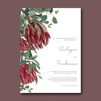 Modelo de convite de casamento com flores desenhadas à mão