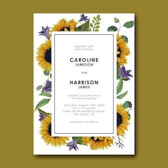 Modelo de convite de casamento com girassol desenhado à mão e folhas de eucalipto