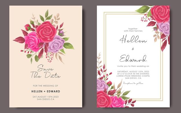 Modelo de convite de casamento com modelo de quadro de flor rosa