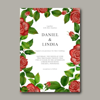 Modelo de convite de casamento com moldura de flor rosa