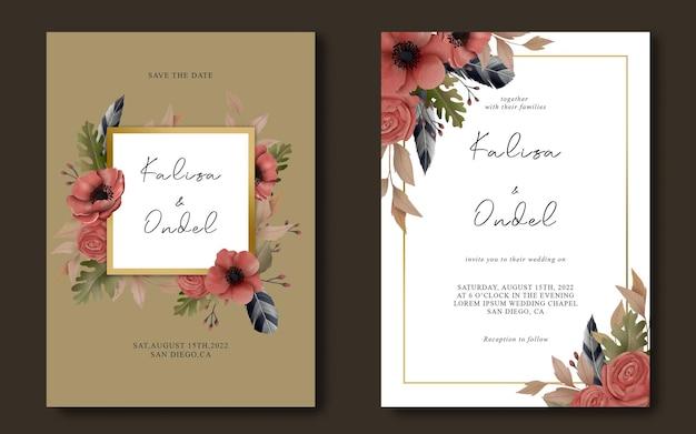 Modelo de convite de casamento com moldura de flores em aquarela