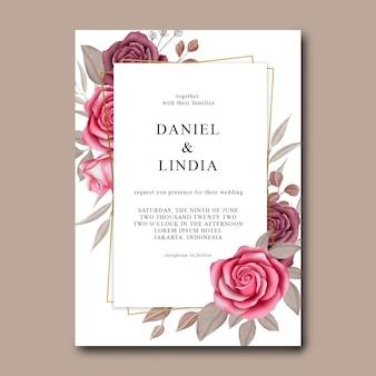 Modelo de convite de casamento com rosas em aquarela