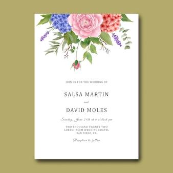 Modelo de convite de casamento com um buquê de hortênsias vermelhas e azuis