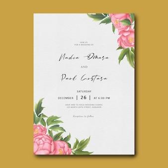 Modelo de convite de casamento de flor de peônia aquarela