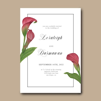 Modelo de convite de casamento de flor de tulipa em aquarela