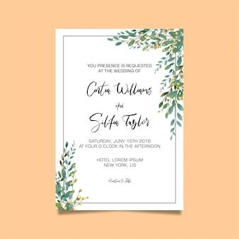 Modelo de convite de casamento de moldura de folha