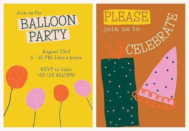 Modelo de convite de celebração de aniversário psd com rabiscos fofos