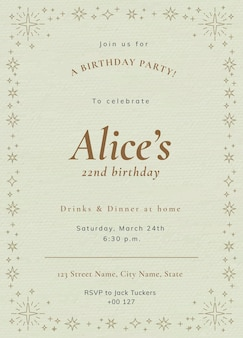 Modelo de convite de festa online psd festa de aniversário