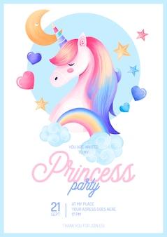 Modelo de convite de festa princesa cute