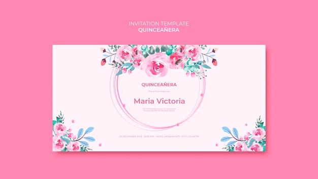 Modelo de convite de quinceanera colorido