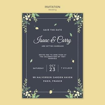 Modelo de convite do conceito de casamento