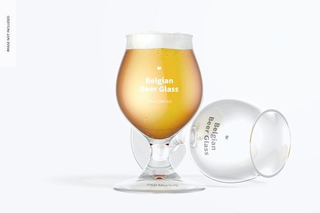 Modelo de copo de cerveja belga de 13 onças, em pé e caído